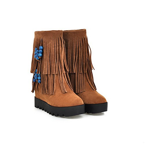 AdeeSu Girls Shi Xi Boots Heighten Tassels Outdoor Inside Yellow Velvet rpwZqvxr1