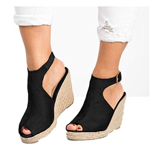 Cenglings Wedges Sandals,Women's Fish Mouth Espadrilles Slingback Platform Sandals High Heel Ankle Strap Beach Shoes Black