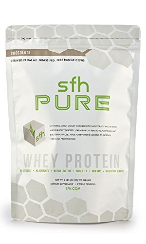 PURE Whey Protein Powder (Chocolate) by SFH   Best Tasting 100% Grass Fed Whey   All Natural   100% Non-GMO, No Artificials, Soy Free, Gluten Free   2lb bag (896g)   28 servings