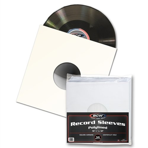 50 BCW 12 Paper & Plastic Polylined Record Inner Sleeves for LP Vinyl Record Albums 1-PRS33-PL-SC-WH