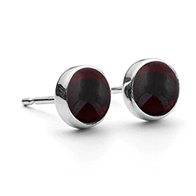 Genuine & Created Gemstone 8mm Round Sterling Silver Stud Earrings for Women & Girls
