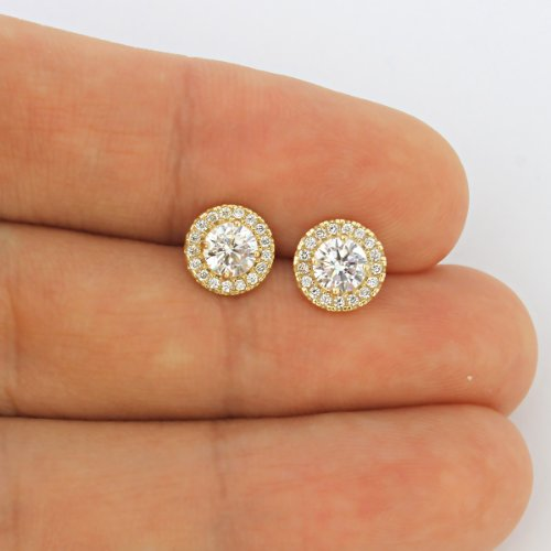 14k Yellow Gold Cubic Zirconia Halo Necklace and Earrings Set - 20'' by Beauniq (Image #2)