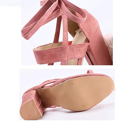 Zhrui uk Alti Scarpe Grandi Shoes Alla Come Da Con Mostrato Plus Donna 6 Sandali Pink Caviglia E Tacco Tacchi Cinturino Alto Lacci Zeppa Classic HwqHZrdx
