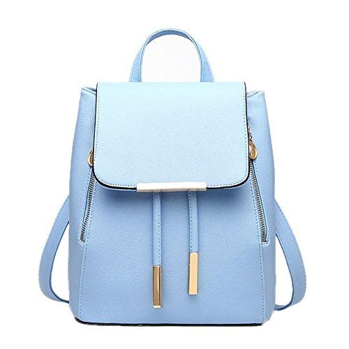 DELEY Damen Casual Adrette Art Tote Handtasche Schule Mädchen Rucksack Double Umhängetasche Blau