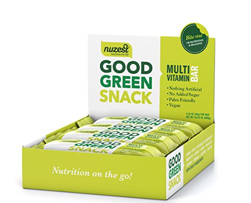 Nuzest Good Green Snack Bar - 50% of Daily Vitamins and Minerals, Natural Energy Booster, No Sugar Added, Vegan, Source of B12, 100% Plant-based, Box of 12