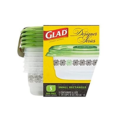 Glad Food Storage/Containers, Designer Series, Small Rectangle, 9 Ounce, 5