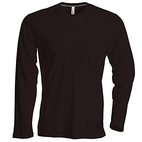 Kariban - Herren Langarm Rundhals T-Shirt / Chocolate, M