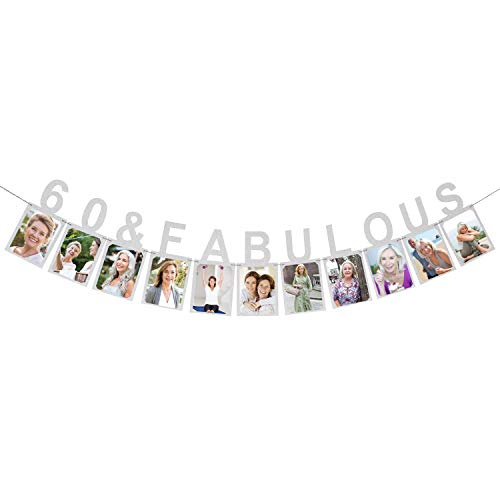 60 & Fabulous Photo Banner - Happy 60 Years Birthday Or 60th Wedding Anniversary Party Decorations Silver -