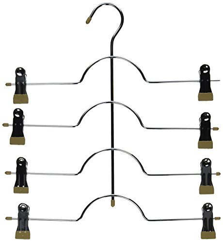 Closet Complete 6-Piece Chrome 4-Tier Skirt/Pants Hanger with Clips, Taupe