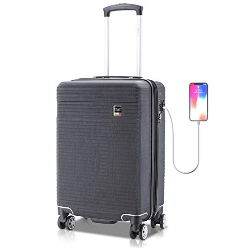 Villago Hardshell Carry On USB port Polycarbonate 8 Wheel Spinner with Slash Proof Zipper TSA Lock and Expandable Zipper (22x14x9) (BLACK) / Maleta De Viaje De Polycorbonato Con USB Y Candado
