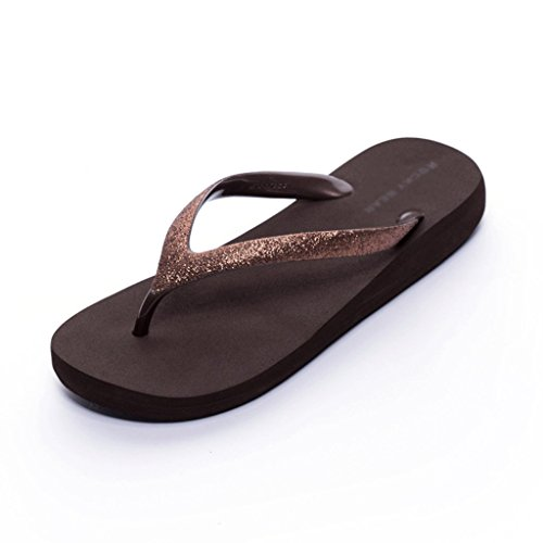 Summer Waterproof Pearly Fashion Female Beach And Shiny Brown BLACK 35 Slippers Sandals Color Size dWtIq8Rn