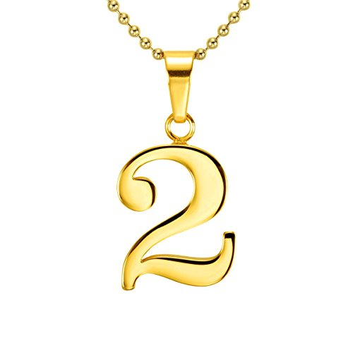 Two Gold Plated (HACOOL 18k Gold Plated Lucky Number 0 to 9 Character Necklace Pendant Necklace Charm Jewelry 16