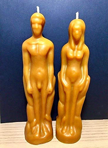 pure beeswax male female figure candles