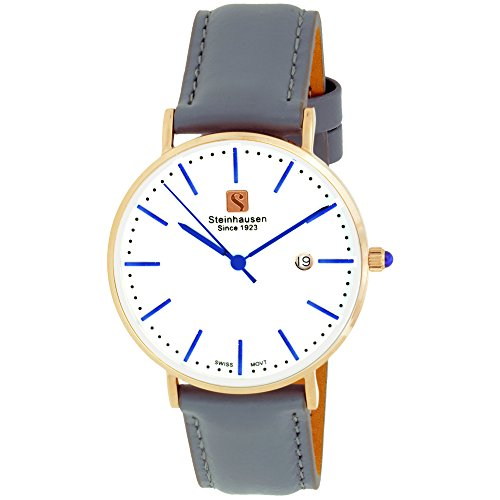 - Steinhausen Women's S0622 Classic Burgdorf Swiss Quartz Stainless Steel Rose-Gold Watch with Grey Leather Band