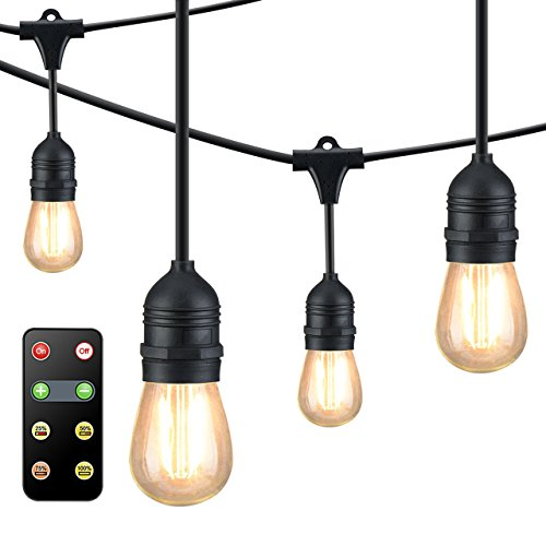 Mpow Upgraded 49Ft LED Outdoor String Lights, Ambiance Adjustable 150W Remote Control Dimmer, Dimmable 1.5W Vintage Bulb (1 Spare), Heavy Duty Waterproof Edison String Light for Patio Backyard -
