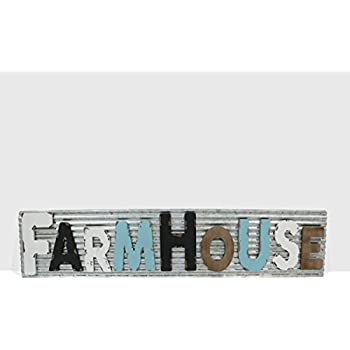 """Barnyard Designs Large Vintage Wooden Cutout Farmhouse Sign with Galvanized Metal Backing 
