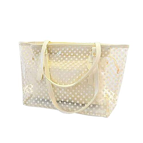 L-COOL PVC Large Candy Color Clear Shoulder Bag Beach Tote Bags Transparent Handbags With Interior Pocket For Women -
