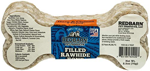 Image of REDBARN Ham & Cheese Filled Rawhide Bone for Dogs, 24 Count
