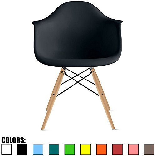 Cheap 2xhome – Set of Four (4) – Black – Eames Style Armchairs – Natural Wooden Legs Dining Room Chair – Lounge Arm Arms Armed Chair Chairs Armchairs Seat Wood Dowel Leg Legged Base