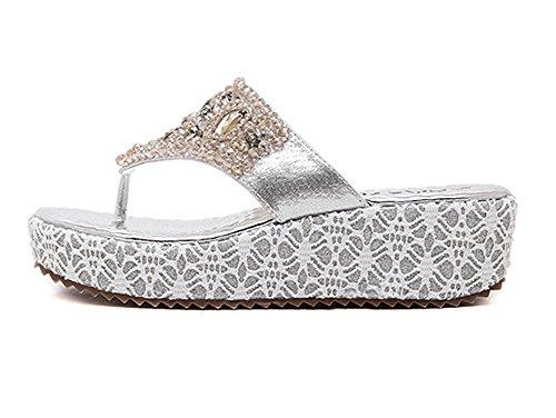 YOUJIA Damen Riemchen Sandalen Glitzer Zehentrenner Sandaletten Mit Keilabsatz Silber