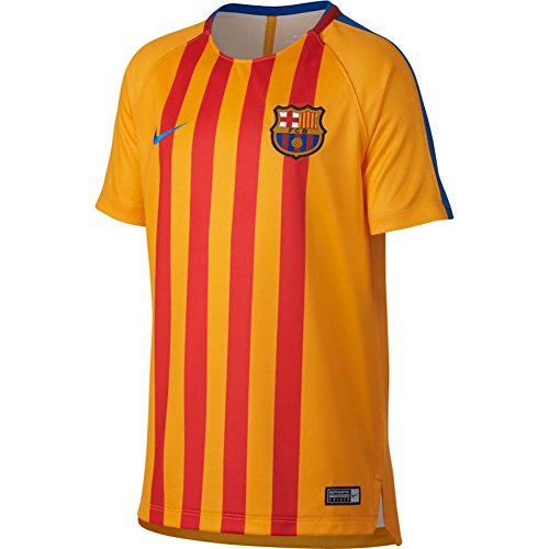 Nike Kid's Barcelona Dry Squad Top Soccer Training Jersey (Youth Large) Gold, Red