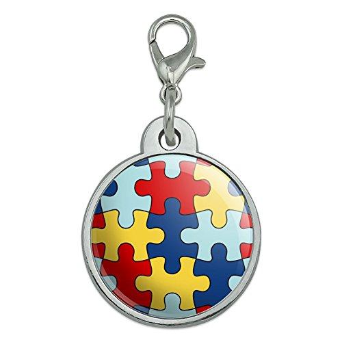 Awareness Dog Tag (Autism Awareness Diversity Puzzle Pieces Chrome Plated Metal Pet Dog Cat ID Tag - Small)