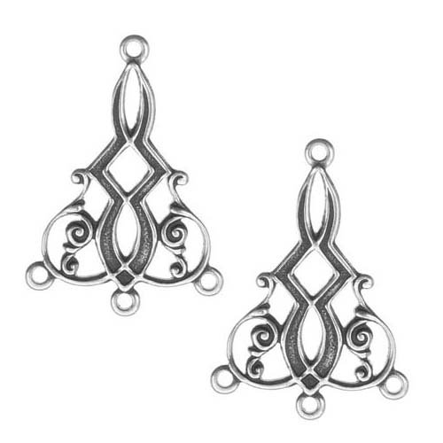 Beadaholique Guyot: 7676 2-Piece Deco Scroll with 3-Ring Chandelier Earring Drops, Antiqued Silver
