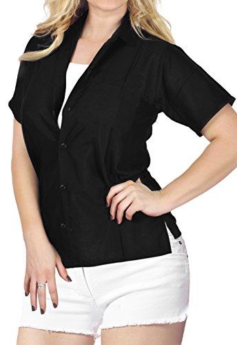 Black Button Down Camp Shirt - LA LEELA Rayon Hawaiian Short Sleeve Blouse Shirt Black 731|XL - US 40 - 42E