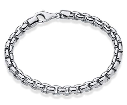 MiaBella 925 Sterling Silver Italian 6.5mm Solid Round Box Link Chain Bracelet for Men, 8