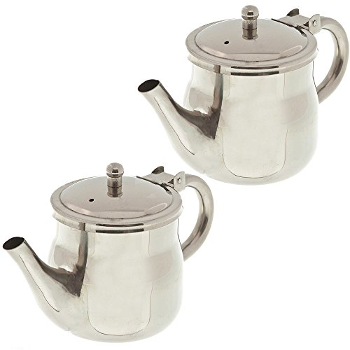 Stainless Steel Gooseneck Teapot - Update International GNS-10 10oz Gooseneck Teapots (Pack of 2)