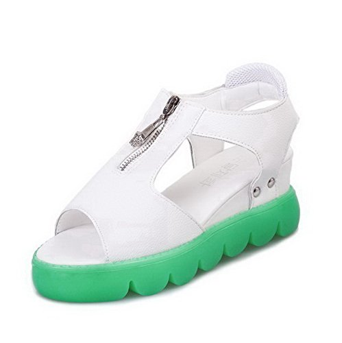 Womens Sandals Toe Green Open AalarDom Solid PU Zipper Kitten Heels fZqq8aRw
