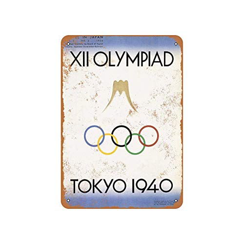 - Fhdang Decor Vintage Pattern 1940 Canceled Olympics Tokyo Japan Vintage Look Aluminum Sign Metal Sign,12x18 Inches