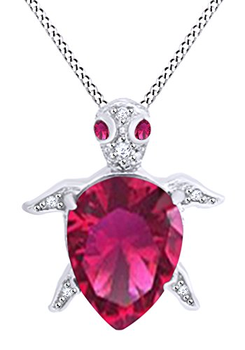 AFFY Pear Shape Simulated Ruby & White Cubic Zirconia Turtle Pendant in 14k White Gold Over Sterling Silver