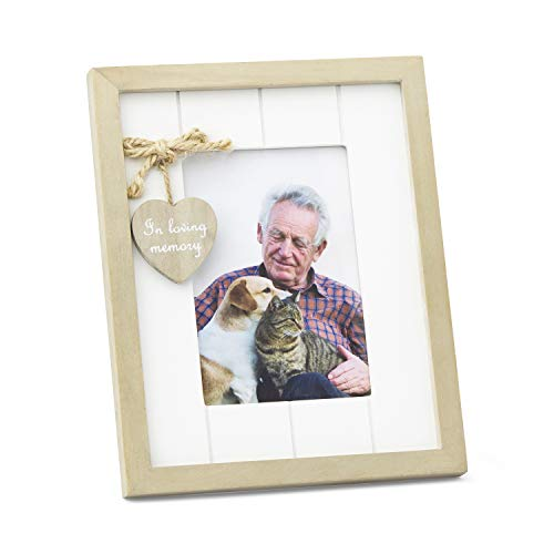 Rustic Wood Family, Friend or Pet Memorial Photo Frame with in Loving Memory Heart Embellishment. Remembrance Picture Sympathy Gift Portrait Orientation