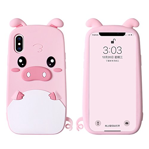 info for e5ff0 8a16e Soft Silicone Gel 3D Cartoon Pink Piggy Case for iPhone X iPhoneX Tail Pig  Animal Thick Shockproof Protective Shock Drop Bump Resistant Cute Lovely ...