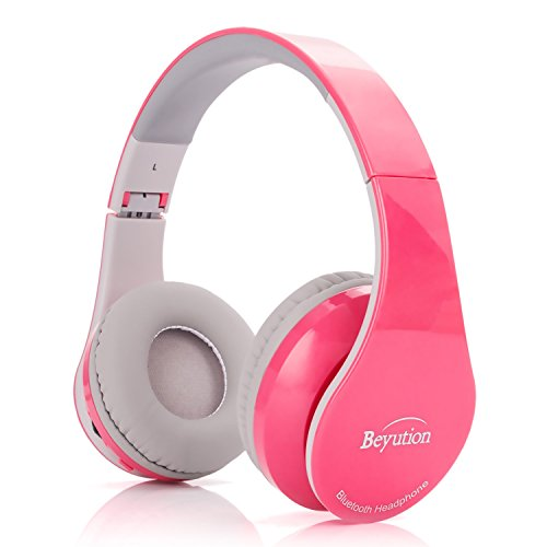 New Pink Color Beyution513@ Over-Ear- HiFi Stereo-Built in Clear Mic-Phone-Pink Bluetooth V4.1 Headphones Headset