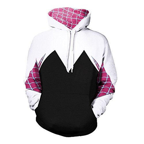 Super Hero Hoodie Super Hero Costume Creative Fashion Sweater Halloween Costume (L, Gwen) -