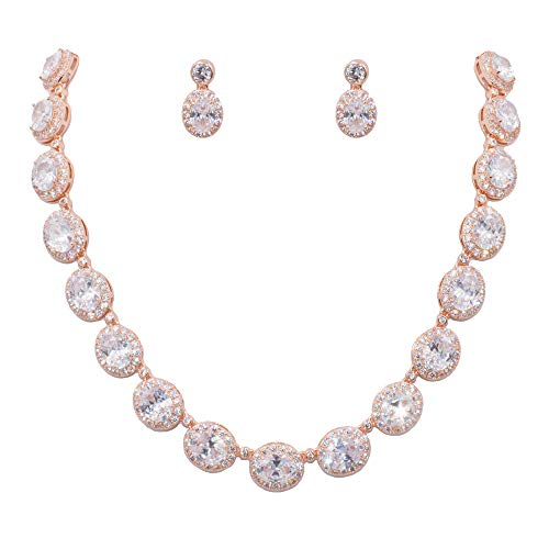 Lavencious Tennis Oval Necklace & Earrings Jewelry Set AAA Cubic Zirconia Rhodium Plated (Rose Gold)