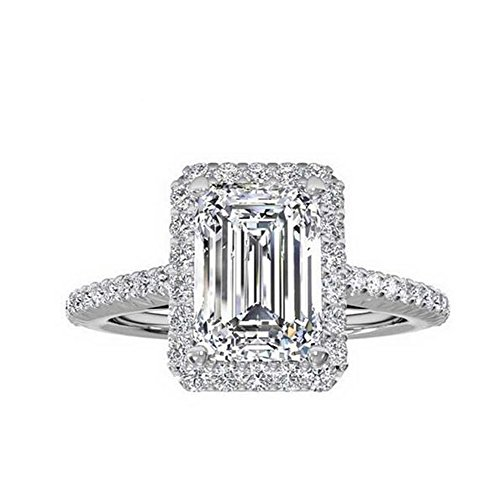 Tenfit Jewelry Women's Ring 18k Gold Plated Square Cubic Zircon Engagement Ring -