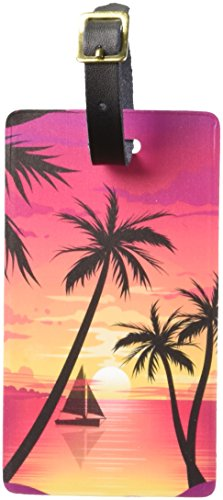 Graphics & More Beach Sunset-Palm Tree Sail Boat Vacation Luggage Tags Suitcase Id, White