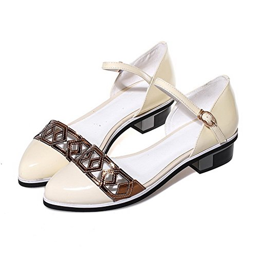 Closed Womens Color Soft heels Toe Sandals Apricot Low Assorted Buckle AmoonyFashion Material qOSwyABdSI