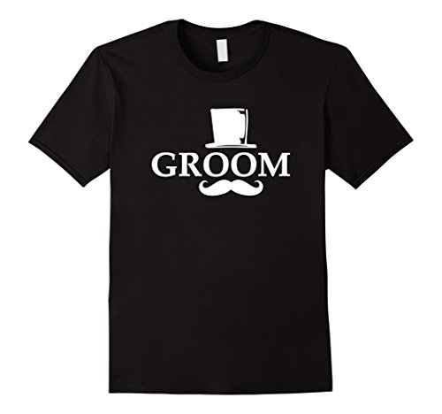 Groom Top Hat (Mens Groom Mustache And Top Hat Wedding Bachelor Party T-Shirt Medium Black)