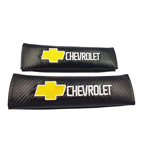 Vidyaa 2pcs Chevrolet Logo Carbon Fiber Seat Belt Shoulder Pad Cover For Chevrolet Blazer Chevrolet Bolt EV Chevrolet Camaro Chevrolet City Express Chevrolet Colorado