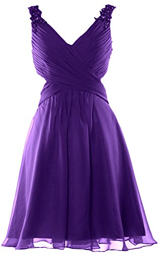 MACloth Women Strap V Neck Short Prom Homecoming Dress Wedding Party Formal Gown Morado