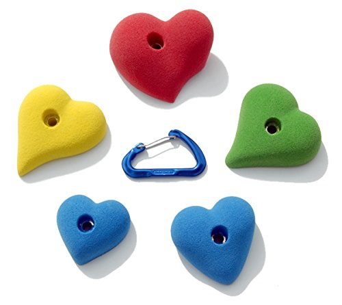 5 Pack Hearts l Climbing Holds l Mixed Bright Tones by Atomik Climbing Holds