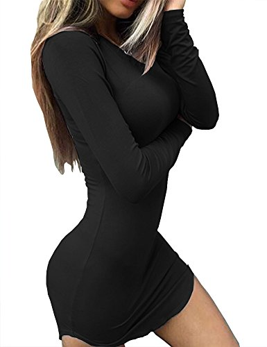 Haola Women's Sexy Bodycon Tight Long Sleeve Mini T Shirts Dresses Irregular Hem L Black
