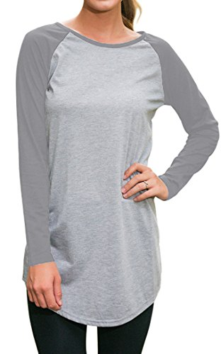 Halife Women's Crewneck Raglan Sleeve Long T-shirt Tunics Tops (L, Light - Raglan Sleeve Crewneck Long