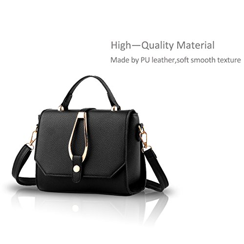 Nicole&Doris Nueva hebilla bolsas de hombro simple de la moda del bolso bolsa de mensajero Black