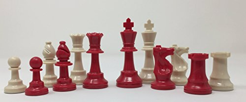 (ChessCentral's Red Imperial Chess Set with Chess Pieces, Black Board, and Bag)