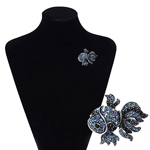 (Diamondo Crystal Fish Brooches Pin Women Alloy Rhinestone Collar Corsage Jewelry)